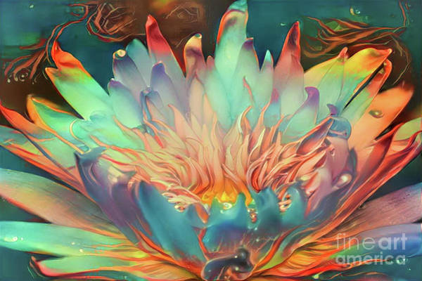 Lilly Pad Digital Art - Teal Waterlilies 10 by Amy Cicconi