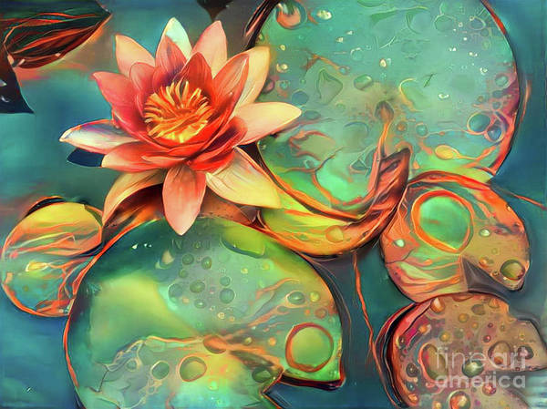Lilly Pad Digital Art - Teal Waterlilies 11 by Amy Cicconi