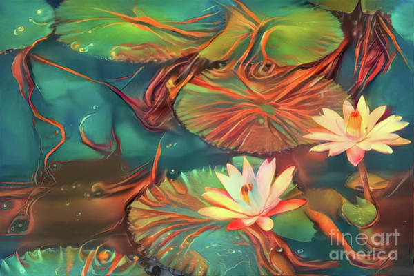 Lilly Pad Digital Art - Teal Waterlilies 2 by Amy Cicconi