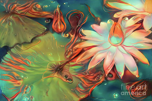 Lilly Pad Digital Art - Teal Waterlilies 4 by Amy Cicconi