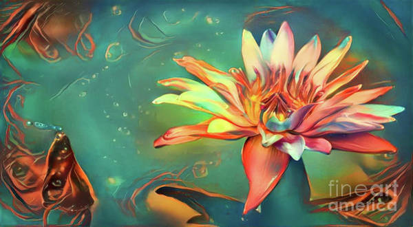 Lilly Pad Digital Art - Teal Waterlilies 5 by Amy Cicconi