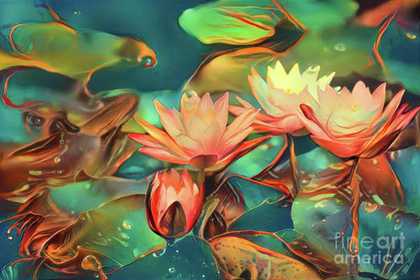 Lilly Pad Digital Art - Teal Waterlilies 6 by Amy Cicconi