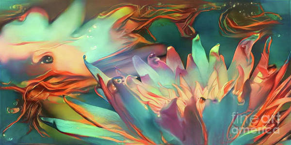 Lilly Pad Digital Art - Teal Waterlilies 9 by Amy Cicconi