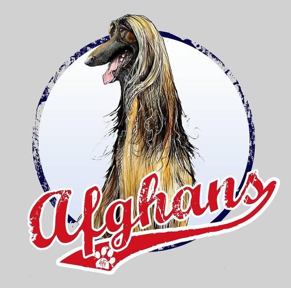 Hound Drawing - Team Afghan Hound by John LaFree