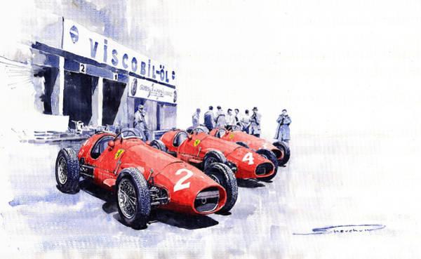 Sports Car Painting - 1953 Team Ferrari 500 F2 German Gp by Yuriy Shevchuk