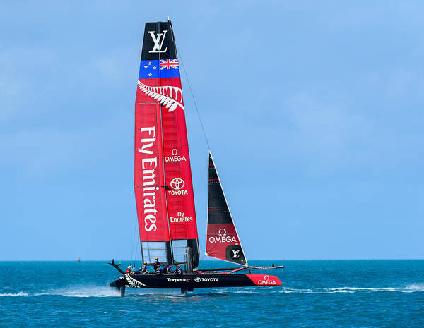 Ac45 Photograph - Team New Zealand Flying by Chris Beard