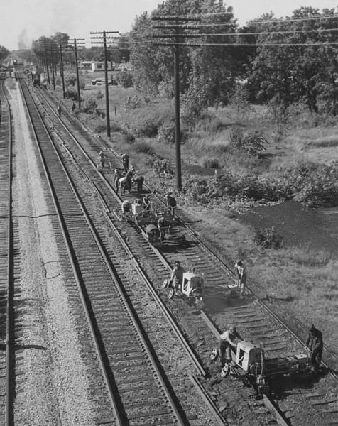Chicago And North Western Photograph - Team Of Laborers Work On Track by Chicago and North Western Historical Society
