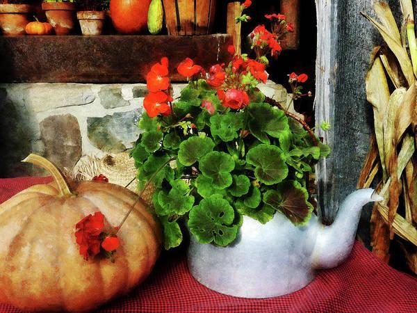 Photograph - Teapot Filled With Geraniums by Susan Savad