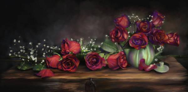 Digital Art - Teapot Roses by Susan Kinney
