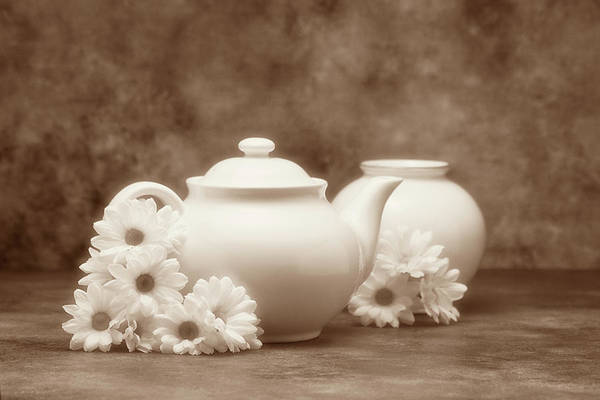 Saucer Photograph - Teapot With Daisies I by Tom Mc Nemar