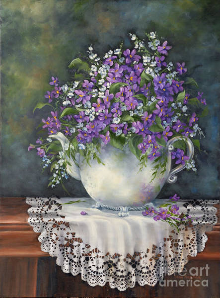 Doily Painting - Teapot With Violets by Jean Harrison