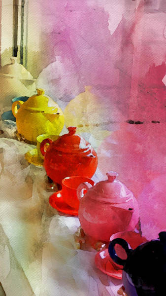 Wall Art - Painting - Teapots On A Windowsill by Bonnie Bruno