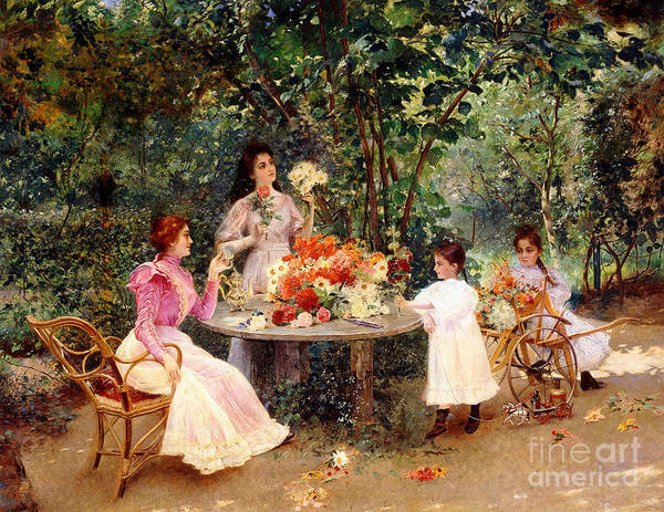 Shade Garden Wall Art - Painting - Teatime In The Garden by Edouard Frederic Wilhelm Richter