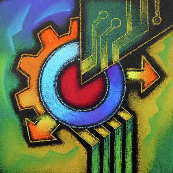 Wall Art - Painting - Tech Symbol by Leon Zernitsky