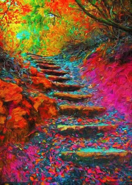 Digital Art - Technicolour Trail by Charmaine Zoe