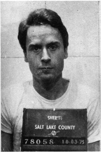 Serial Killer Painting - Ted Bundy Mug Shot 1975 Vertical  by Tony Rubino