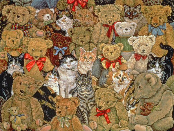 Teddy Bear Painting - Ted Cats by Ditz