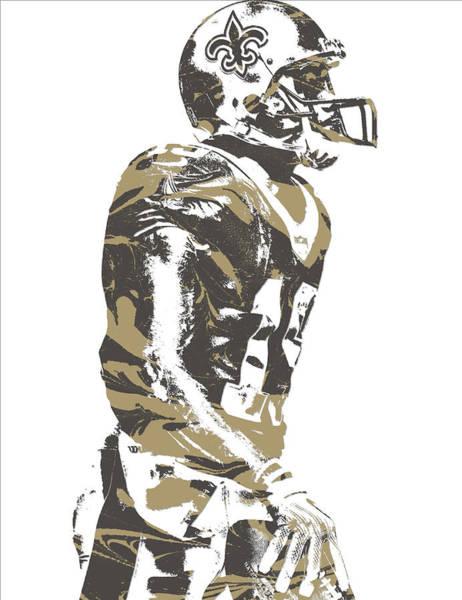 Catholic Mixed Media - Ted Ginn Jr New Orleans Saints Pixel Art 1 by Joe Hamilton