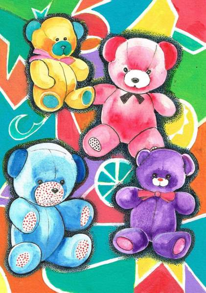 Painting - Teddy Bears  Parade by Val Stokes