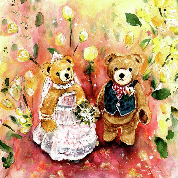 Painting - Teddy Bear Wedding At Newby Hall 02 by Miki De Goodaboom
