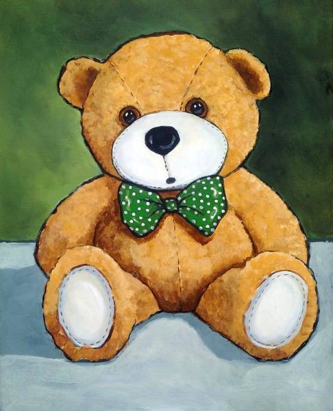 Wall Art - Painting - Teddy Bear With Polka Dotted Bow Tie by Joyce Geleynse