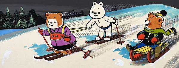 Teddy Bear Painting - Teddy Bears Skiing by William Francis Phillipps