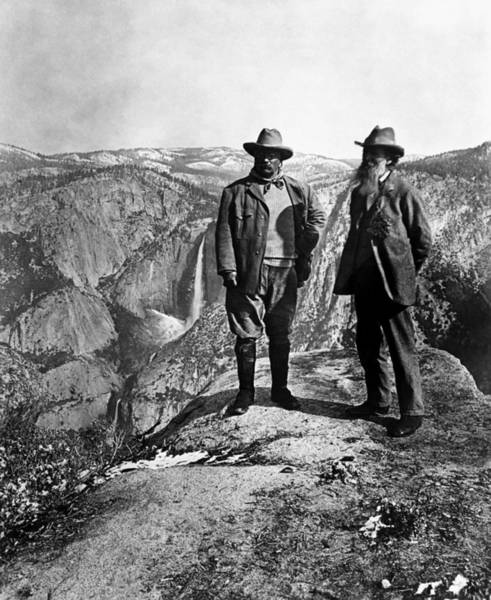 President Photograph - Teddy Roosevelt And John Muir - Glacier Point Yosemite Valley - 1903 by War Is Hell Store