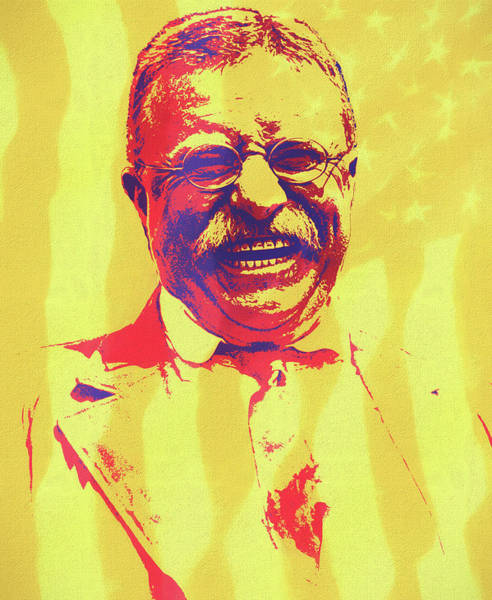Wall Art - Mixed Media - Teddy Roosevelt Pop Art by Dan Sproul