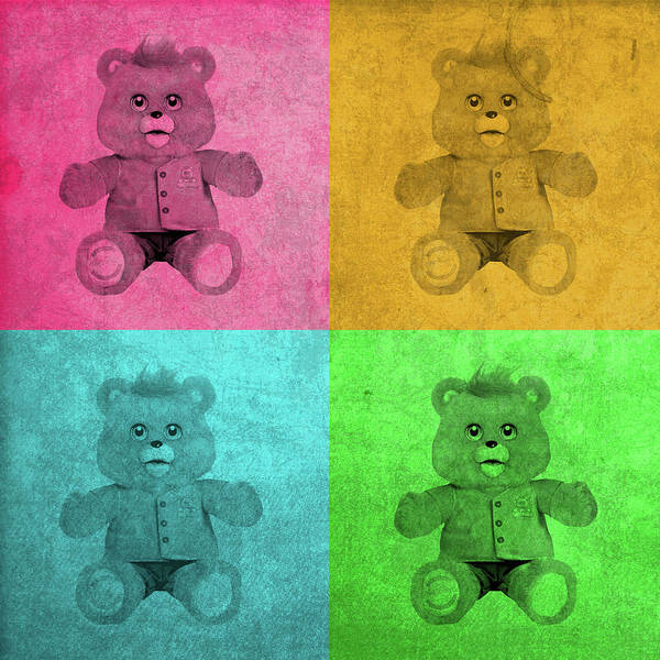 Toy Mixed Media - Teddy Ruxpin 1980s Toy Vintage Pop Art Color Quadrants by Design Turnpike