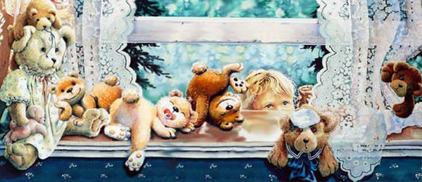 Wall Art - Painting - Teddy Tricks by Hanne Lore Koehler