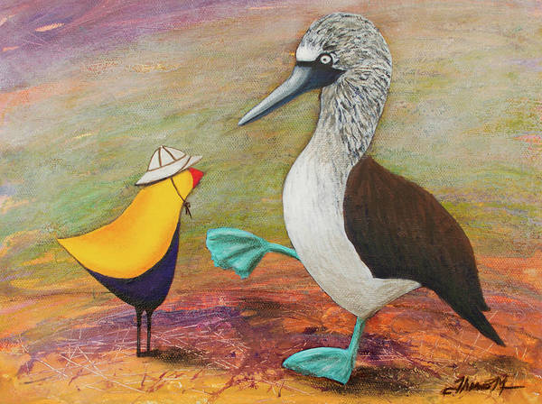 Boobies Painting - Ted's Blue Footed Friend by Therese Misner