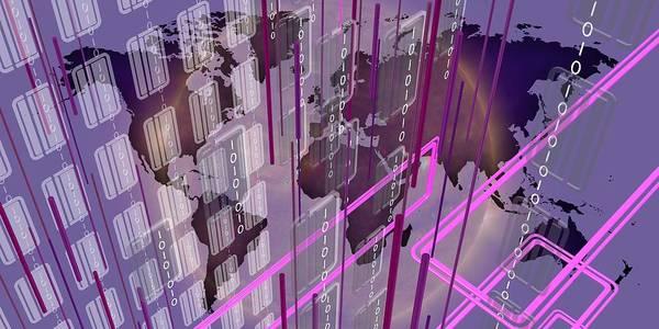 Digital Art - Teech Scene In Violet Over Violet Worldmap by Alberto RuiZ
