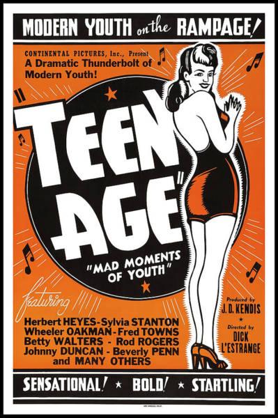 Wall Art - Photograph - Teen Age Movie Lobby Ad 1943 by Daniel Hagerman