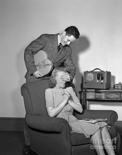 Photograph - Teen Boy Surprising Girlfriend, C.1940s by H. Armstrong Roberts/ClassicStock