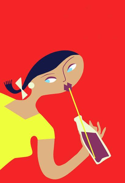 Teenager Digital Art - Teenager Drink Soda, Vintage Poster by Long Shot