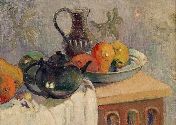 Tea Pot Wall Art - Painting - Teiera Brocca E Frutta by Paul Gauguin