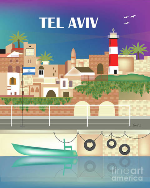 Israel Digital Art - Tel Aviv Israel Vertical Scene by Karen Young