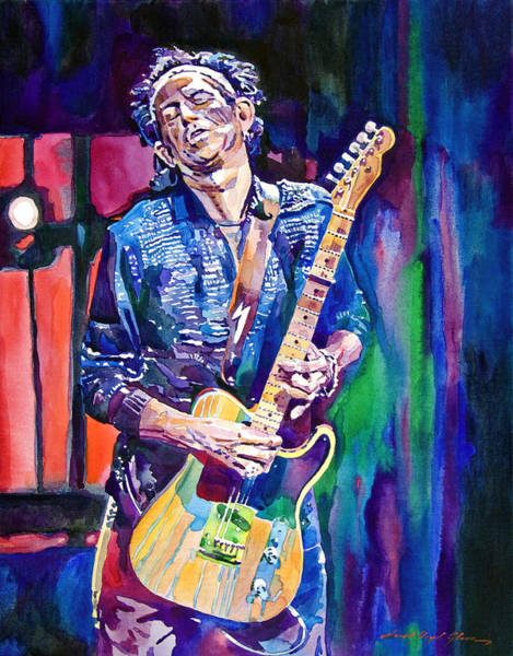 Rock Painting - Telecaster- Keith Richards by David Lloyd Glover