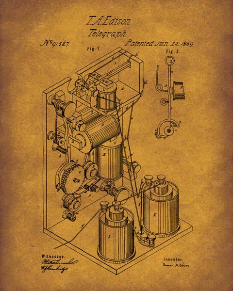Drawing - Telegraph 1869 Patent Art Darkgold by Prior Art Design
