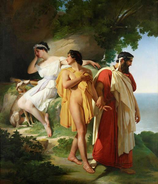Odysseus Painting - Telemachus And Eucharis  by Raymond Monvoisin