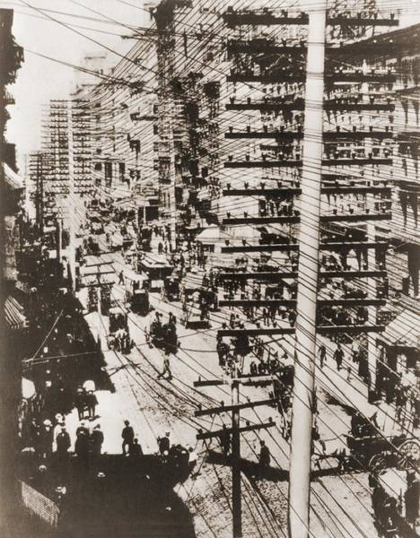 Utility Pole Photograph - Telephone Wires Over New York, 1887 by Everett