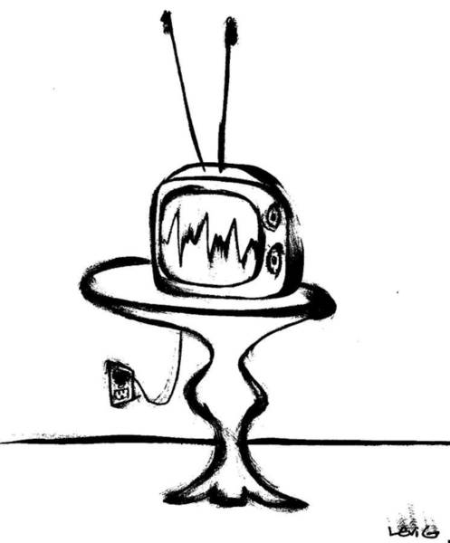 Electronica Drawing - Television by Levi Glassrock