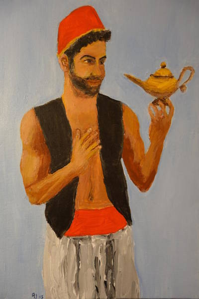 Genie Painting - Tell Us, Aladdin, About Your Mysterious Lamp  by Rauno Joks