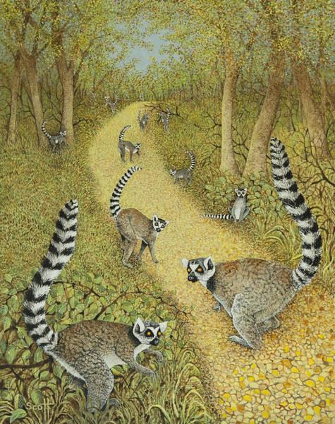 Lemur Wall Art - Painting - Telling Tales by Pat Scott