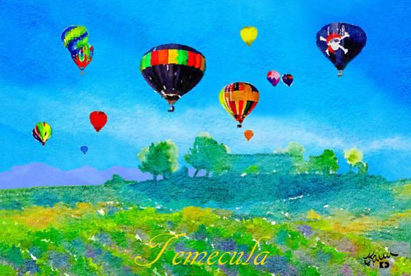 Balloon Festival Digital Art - Temecula Balloons And Vineyards V2 by Karen Dickel