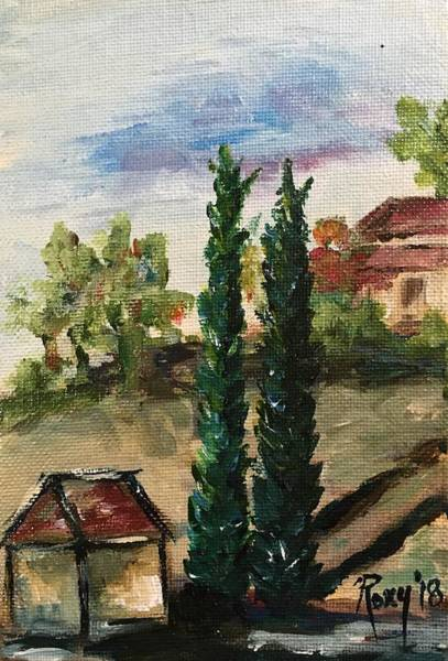Wine Painting - Temecula Cyprus Trees by Roxy Rich