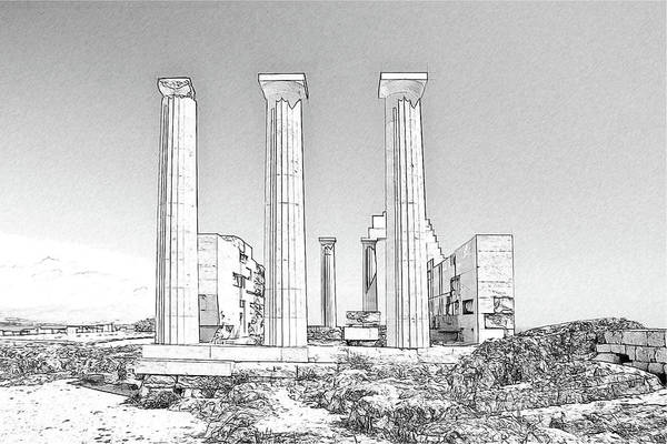 Drawing - Temple Athena Greece - Dwp884128 by Dean Wittle