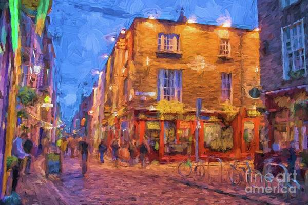 Temple Bar Wall Art - Digital Art - Temple Bar Area In Dublin by Patricia Hofmeester
