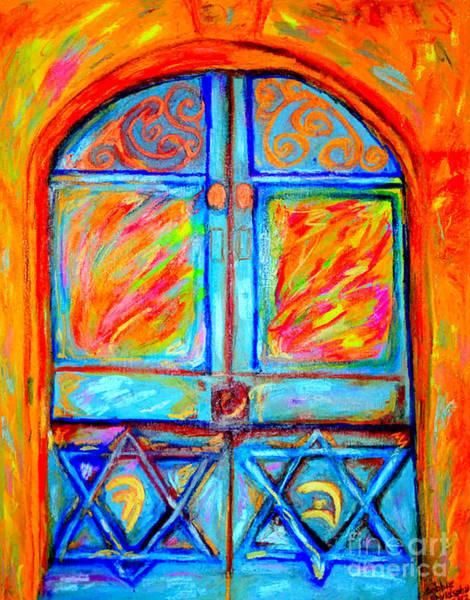 Mogen David Painting - Temple Door by Debbie Davidsohn