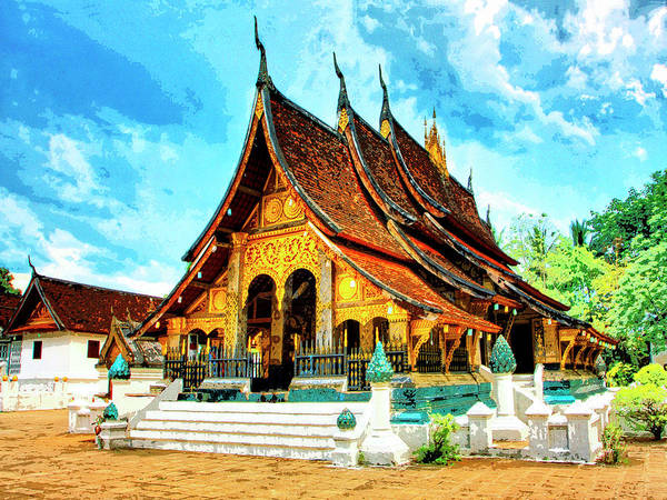 Temple Mixed Media - Temple In Laos by Dominic Piperata